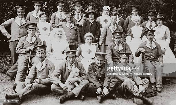 One of a series of postcards showing injured soldiers at Queen Mary's Orthopaedic Hospital Roehampton London members of the Essex Regiment and other...