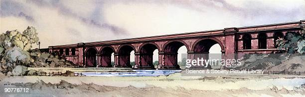 One of a series of railway carriage prints entitled 'Railway Architecture' by Kenneth Steel produced for British Railways London Midland Region...