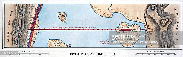 One of a series of three maps showing the Aswan Dam across the Nile in Egypt Built between 1898 and 1902 the Aswan Dam was designed to better control...