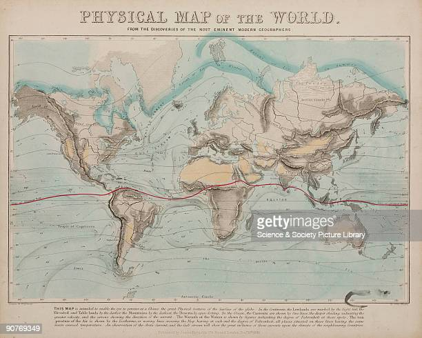 One of a set of teaching cards published by James Reynolds Sons London England in 1849 Titled 'Physical Map of the World' the chart was drawn and...