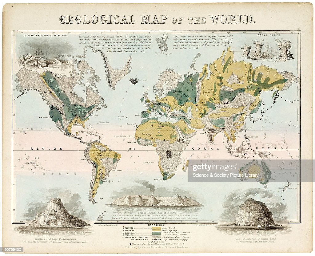 Geological map of the world c 1850 pictures getty images one of a set of teaching cards published by james reynolds sons london gumiabroncs Image collections