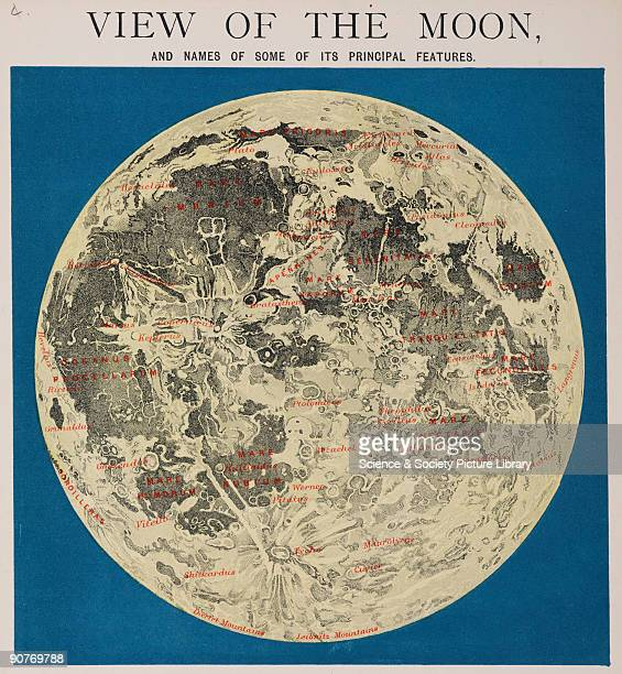 One of a set of teaching cards published by James Reynolds Sons London England around 1850 Titled 'View of the Moon' the chart identifies prominent...