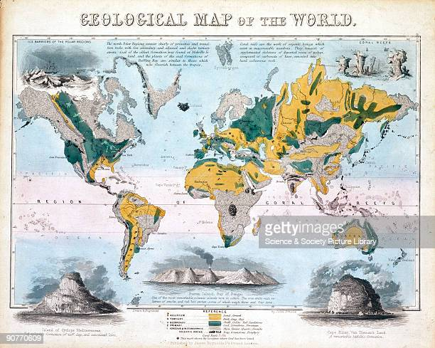 One of a set of teaching cards published by James Reynolds Sons London England around 1850 Titled 'Geological Map of the World' the chart was drawn...