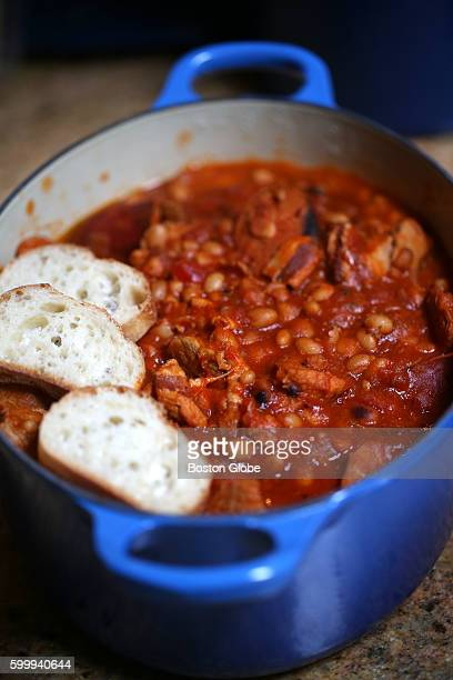 One of Alex Hall's slow cooker dishes cassoulet with bread that will be placed atop dish and browned in the oven Aug 31 2016
