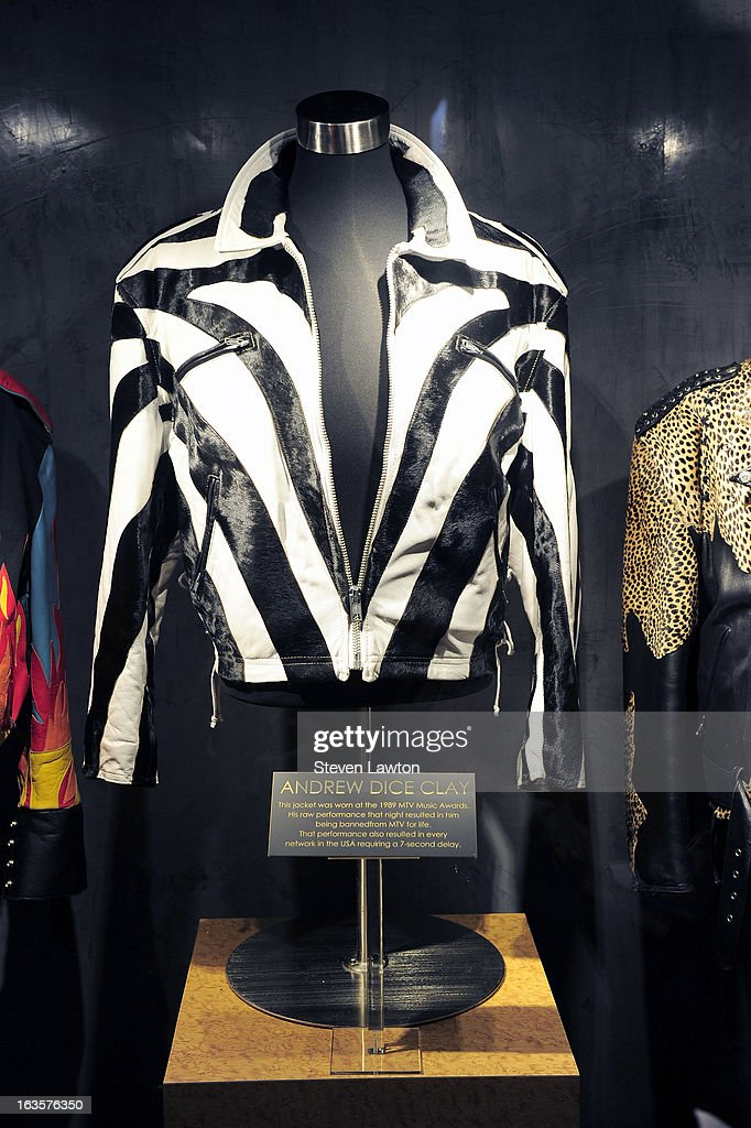 One of Andrew Dice Clay's jackets is displayed during a memorabilia case dedication for the comedian at the Hard Rock Hotel & Casino on March 12, 2013 in Las Vegas, Nevada.