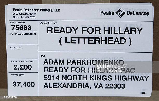 One of boxes on a pallet of letterhead/stationary at the 'Ready For Hillary' Super PAC working on behalf of undeclared US Presidential candidate and...