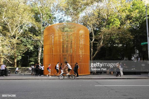 One of Chinese activist and artist Ai Weiwei's new works stands in Central Park and is part of a series of works entitled 'Good Fences Make Good...