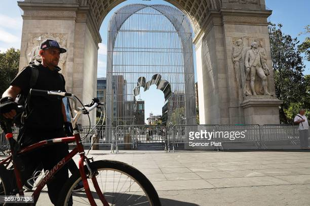 One of Chinese activist and artist Ai Weiwei's new works stands in Washington Square Park and is part of a series of works entitled 'Good Fences Make...