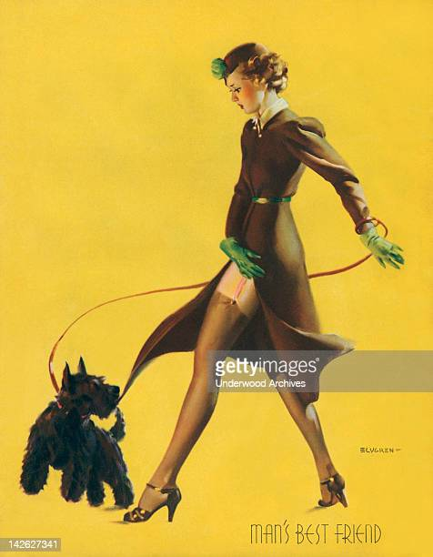 One of famed pinup artist Gil Elvgren's paintings'Man's Best Friend' late 1930s or early 1940s