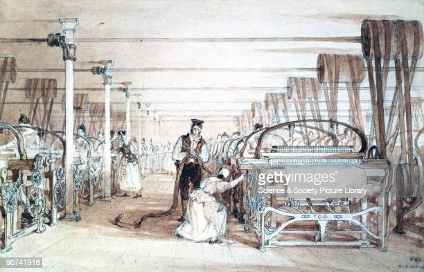 One of five drawings in pencil pen and wash by Thomas Allom This interior view of the mill shows men and women operating power looms Cotton was spun...