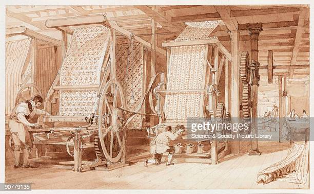 One of five drawings in pencil pen and wash by Thomas Allom This interior view of the mill shows workers printing calico Cotton was spun and woven...