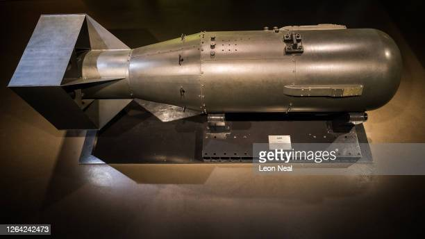 "One of five original casings made for the ""Little Boy"" atomic bomb is seen on display, following the first showing of a commissioned video..."