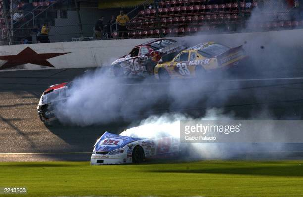 One of four accidents in the Nascar Busch Series EAS/GNC Live Well 300 at Daytona Speedway on Feb 16 2002 Photo by Gabe Palacio/ImageDirect