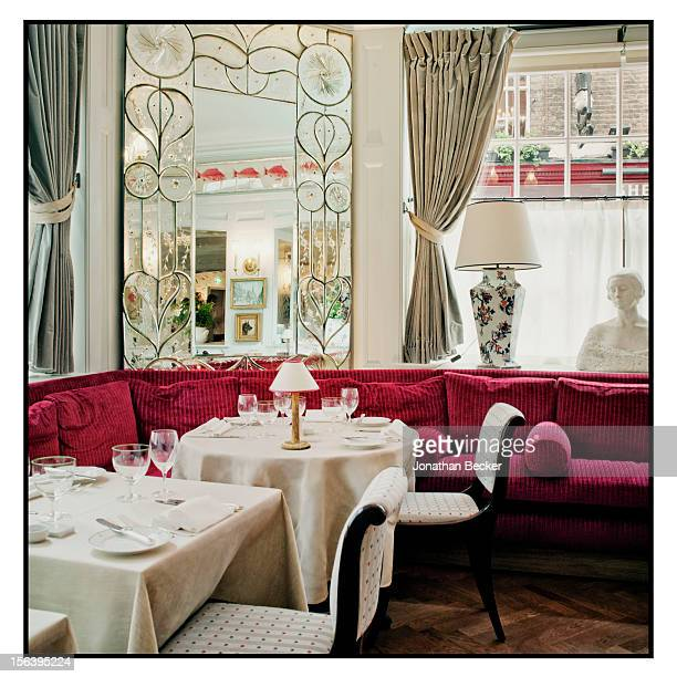 One of four exquisite dining rooms is photographed at 5 Hertford Street, which is home to nightclub Loulou's for Vanity Fair Magazine on June 11,...