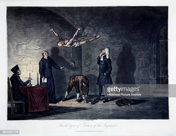 'One of four scenes of Inquisition torture the victim is suspended in the air with weights attached to his body dislocating his spine and eventually...