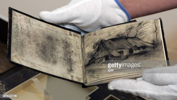 One of four sketchbooks of Dutch painter Vincent van Gogh is shown after its arrival at the Van Gogh Museum in Amsterdam 29 June 2005 The books will...