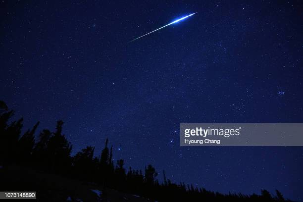 One of greenglowing meteors over squaw pass December 14 2018 The annual Geminids meteor shower is one of the best times to see shooting stars