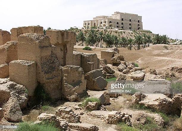 One of Iraqi President Saddam Hussein's palaces overlooks the ruins of the ancient city of Babylon 01 May 1999 Some 90 km south of Baghdad lie the...