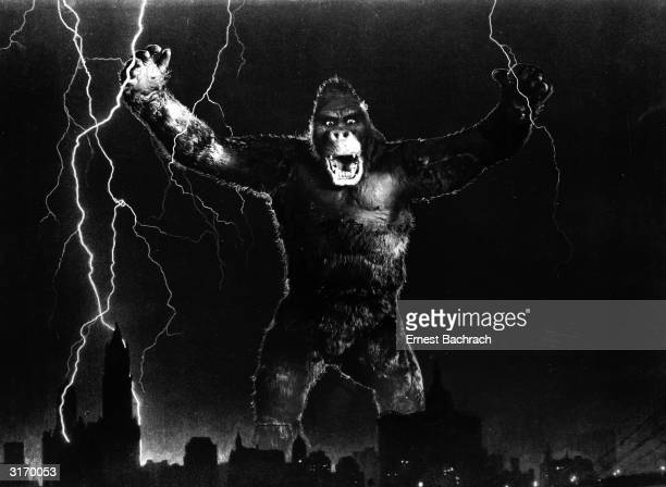 One of John Cerisoli's models of the giant ape poised above the New York skyline in a scene from the classic monster movie 'King Kong'