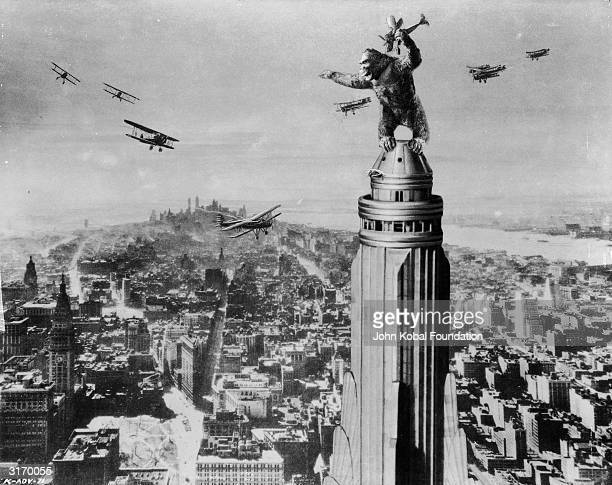 One of John Cerisoli's models of the giant ape poised atop a Manhattan skyscraper in a scene from the classic monster movie 'King Kong'