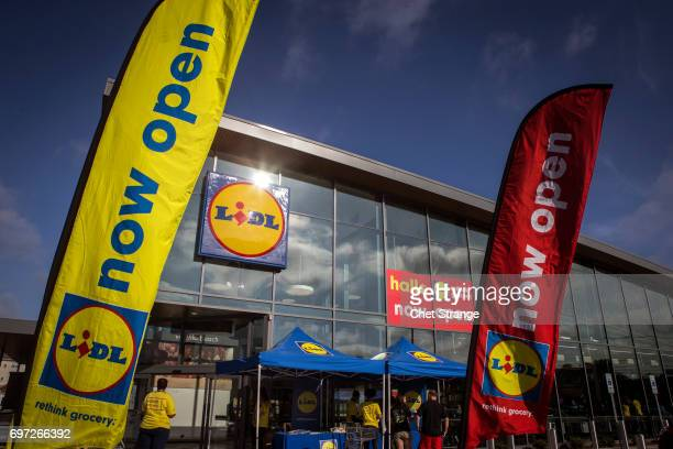 One of Lidl's first US grocery stores awaits customers on June 18 2017 in Virginia Beach Virginia The Germanbased grocery chain is opening stores...