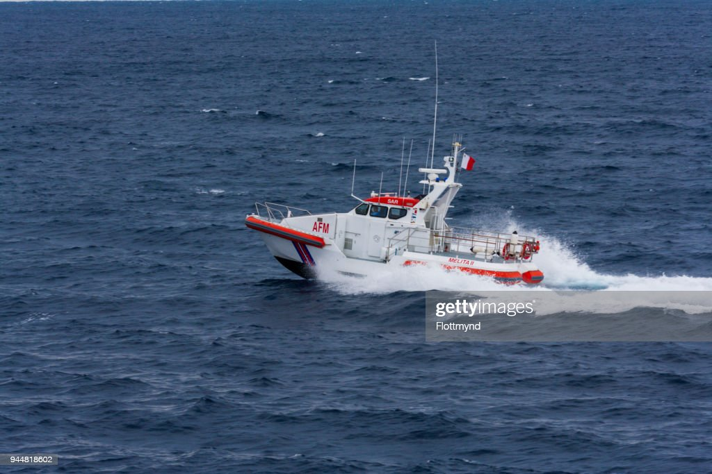 One of Malta's SAR rescue vessels in the Mediterranean sea : Stock Photo