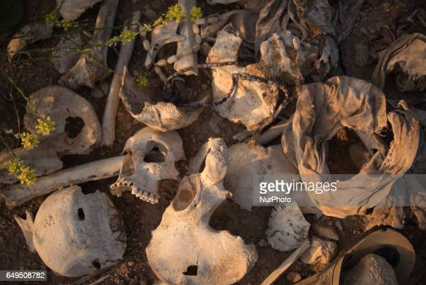 One of many mass graves in Sinjar Iraq where thousands of Yazidis were exceuted and buried by ISIS in 2014 Photo taken April 4 2016