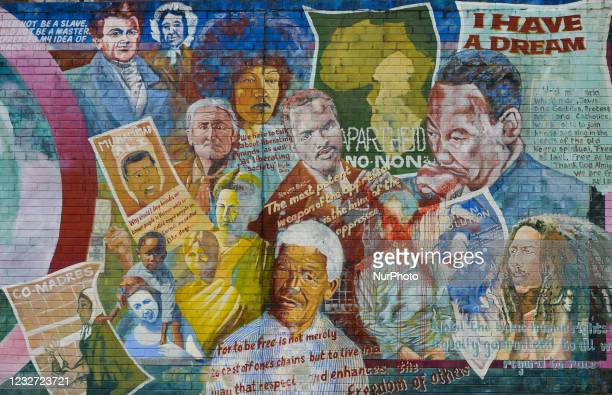 One of many political murals, a part of Belfasts International Wall on Falls Road. On Monday, April 19 in Belfast, Northern Ireland