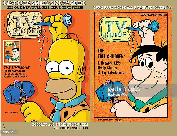 One of nine covers on newsstands October 6th that depict contemporary stars in iconic poses from decades past Homer Simpson as Fred Flintstone
