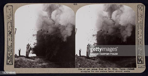 One of our mines fired at St. Eloy [sic] - violent struggles for the craters lasted several weeks, Ypres, Belgium, ca. 1915.