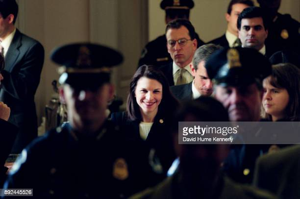 One of President Bill Clinton's attorneys Nicole Seligman leaves the Senate floor during the Senate Impeachment Trial of President Bill Clinton on...
