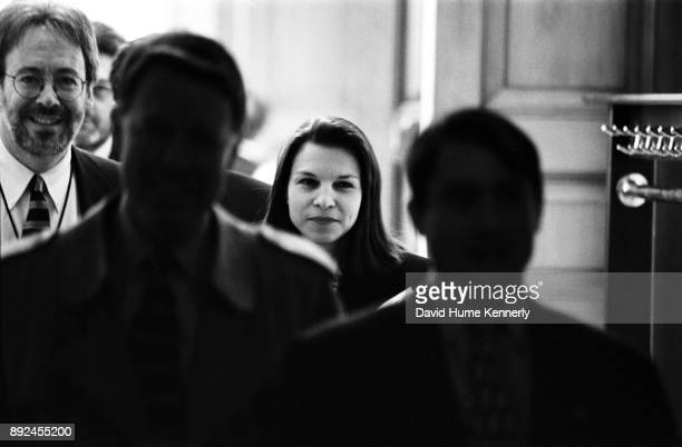 One of President Bill Clinton's attorneys Nicole Seligman leaves the Senate floor during the Clinton Impeachment Trial in the Senate on Feb 4 1999 in...