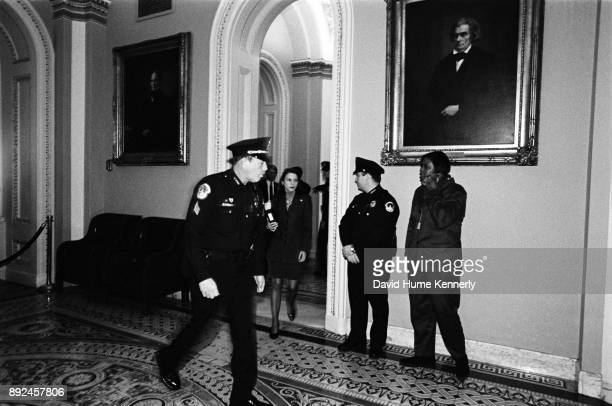 One of President Bill Clinton's attorneys Nicole Seligman leaves the Senate floor during the Clinton Impeachment Trial on Feb 9 1999 in Washington DC