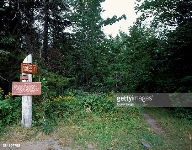 One of relatively few carved signs along the Appalachian Trail footpath from Maine to Georgia or Georgia to Maine if youre hiking north Monson Maine