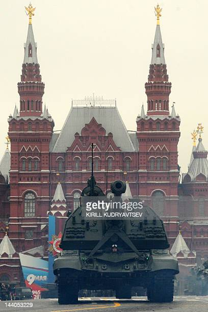 One of Russia's selfpropelled guns rolls at the Red Square in Moscow on May 9 during Victory Day parade Thousands of Russian soldiers marched today...