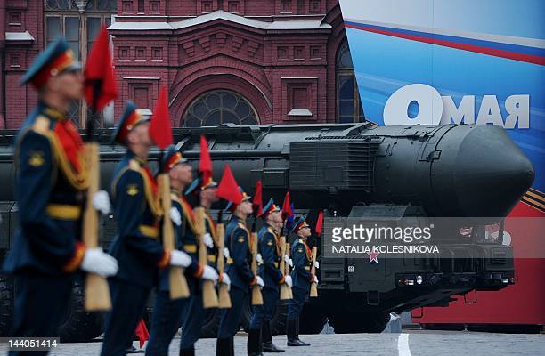 One of Russia's Topol intercontinental ballistic missile launchers rolls during Victory Day parade at the Red Square in Moscow on May 9 2012...