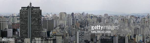 One of Sao Paulo's most famous landmarks the 165metrehigh 46story 'Edificio Italia' building appears in a city landscape in downtown Sao Paulo Brazil...