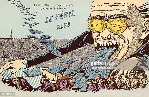 One of set of 6 postcards unused and still with their original wrapper showing six grave dangers facing France This one is the Blue Peril excessive...