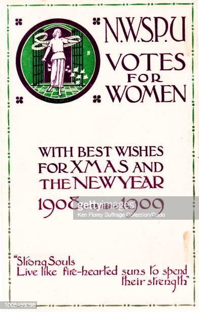 One of several Christmas cards distributed by the English militant organization The National Women's Social and Political Union featuring woman...