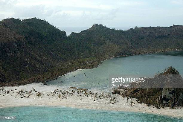 One of several villages on the remote island of Tikopia is shown January 2 2003 which is part of the Temotu Province of the Solomon Islands...