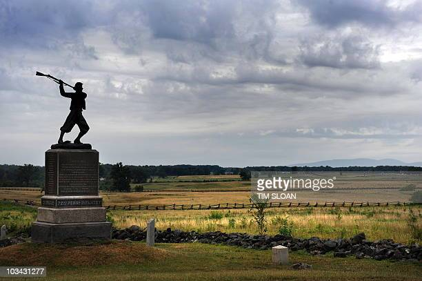One of the 1200 memorials which dot this National Park here along Cemetery Ridge where Pickett's Charge was repulsed on August 13 2010 at the...