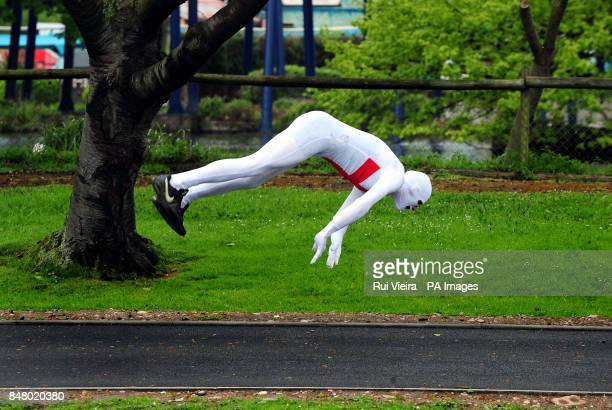 One of the 145 people wearing Morphsuits at Drayton Manor Theme Park Tamworth where they gathered to beat last years figure 112 people gathered in...