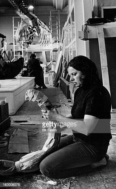 FEB 15 1977 FEB 23 1977 FEB 28 1977 One of the 175 pieces of the Blue Whale skeleton is carefully packed by Carolyn Jones an assistant curator of the...