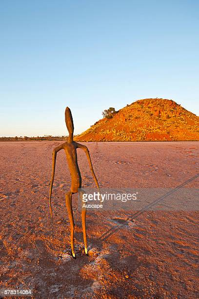 One of the 51 steel figures by Antony Gormley on Lake Ballard a salt lake installed in 2003 as a temporary exhibition that stayed drawing acclaim...