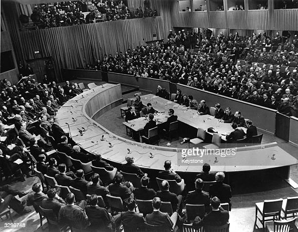 One of the American delegates James F Byrnes addresses the first meeting of the Security Council of the UNO at Hunter College the Bronx New York...