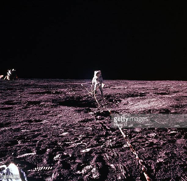 One of the Apollo 12 astronauts is photographied on Moon
