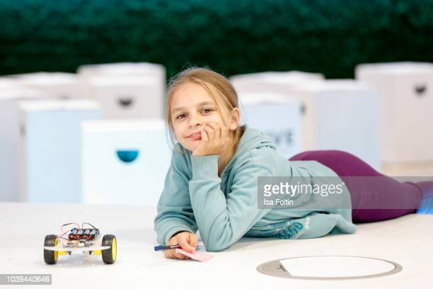 An Arche kid during the kids workshop 'Driven by Kids' hosted by Volkswagen AG at DRIVE Volkswagen Group Forum on September 24 2018 in Berlin Germany