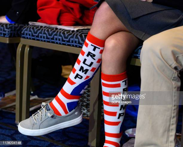 One of the attendees seen with Trump stockings during the American Conservative Union's Conservative Political Action Conference at the Gaylord...