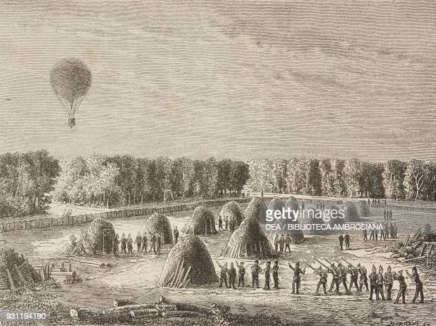 One of the balloons used in the Siege of Paris flying over the Prussian camp, France, October 14 life drawing by Albert Tissandier , from Aircraft...