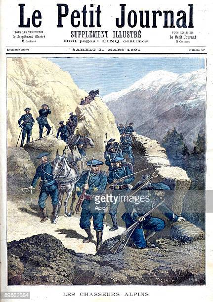 one of the battalions of soldiers trained for mountainous terrain posted to the defence of the Alps frontpage of french newspaper Petit Journal march...